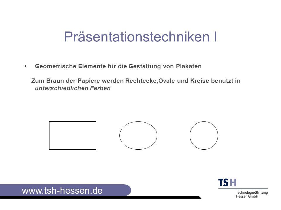 www.tsh-hessen.de Elemente der Visualisierung IV Jedes Element wird in wenigen Variationen verwendet.