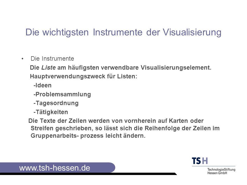 www.tsh-hessen.de Die wichtigsten Instrumente der Visualisierung II Übersichtlichkeit mit der Collagetechnik (Karten angeheftet) Mit Collagetechnik leicht austauschbar