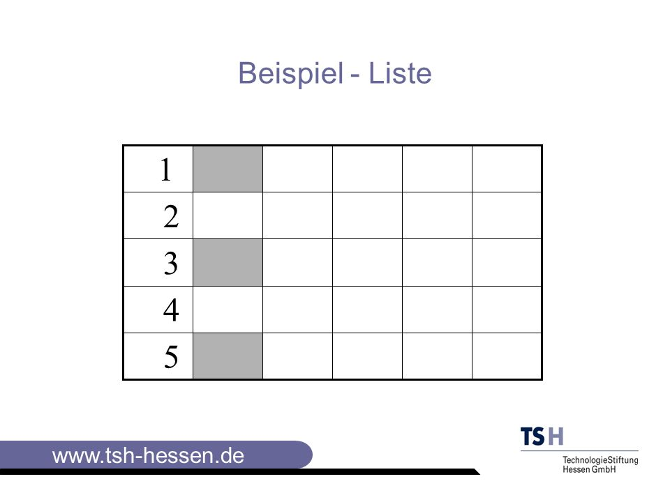 www.tsh-hessen.de Die wichtigsten Instrumente der Visualisierung Die Tabelle ist ein Liste,die von vornherein in zwei Dimensionen gedacht wird: in Zeilen und Spalten.