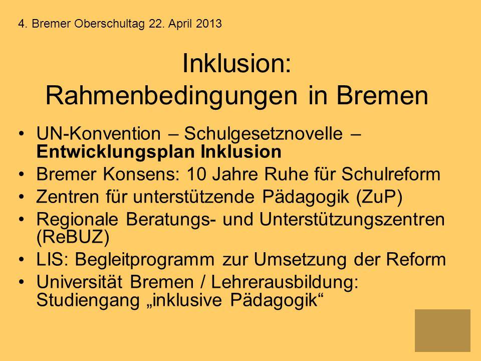 Inklusion: Rahmenbedingungen in Bremen UN-Konvention – Schulgesetznovelle – Entwicklungsplan Inklusion Bremer Konsens: 10 Jahre Ruhe für Schulreform Z