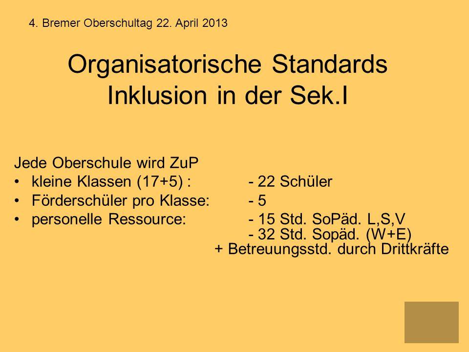 Organisatorische Standards Inklusion in der Sek.I Jede Oberschule wird ZuP kleine Klassen (17+5) : - 22 Schüler Förderschüler pro Klasse: - 5 personel