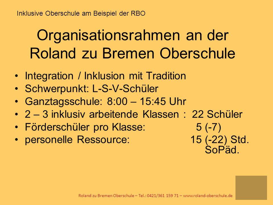 Organisationsrahmen an der Roland zu Bremen Oberschule Integration / Inklusion mit Tradition Schwerpunkt: L-S-V-Schüler Ganztagsschule: 8:00 – 15:45 U