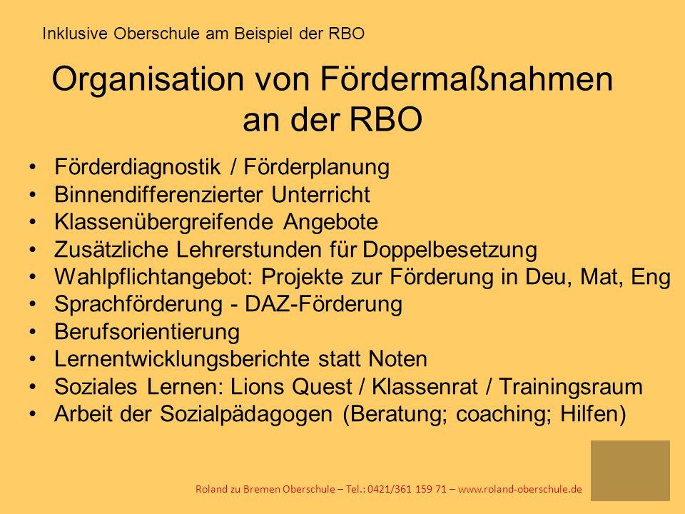 Organisation von Fördermaßnahmen an der RBO Förderdiagnostik / Förderplanung Binnendifferenzierter Unterricht Klassenübergreifende Angebote Zusätzlich