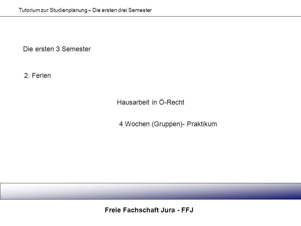 Freie Fachschaft Jura - FFJ Tutorium zur Studienplanung – Die ersten drei Semester Die ersten 3 Semester 2. Ferien Hausarbeit in Ö-Recht 4 Wochen (Gru