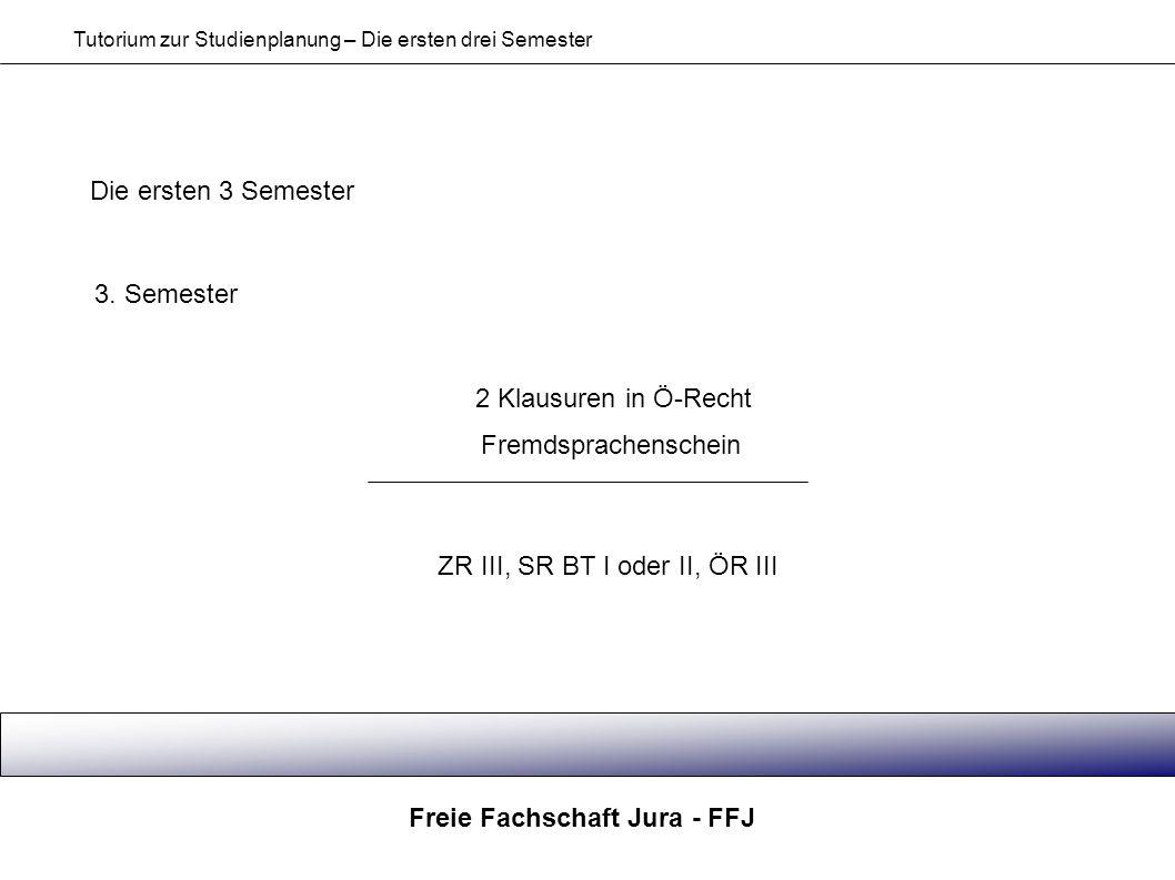 Freie Fachschaft Jura - FFJ Tutorium zur Studienplanung – Die ersten drei Semester Die ersten 3 Semester 3. Semester 2 Klausuren in Ö-Recht ZR III, SR