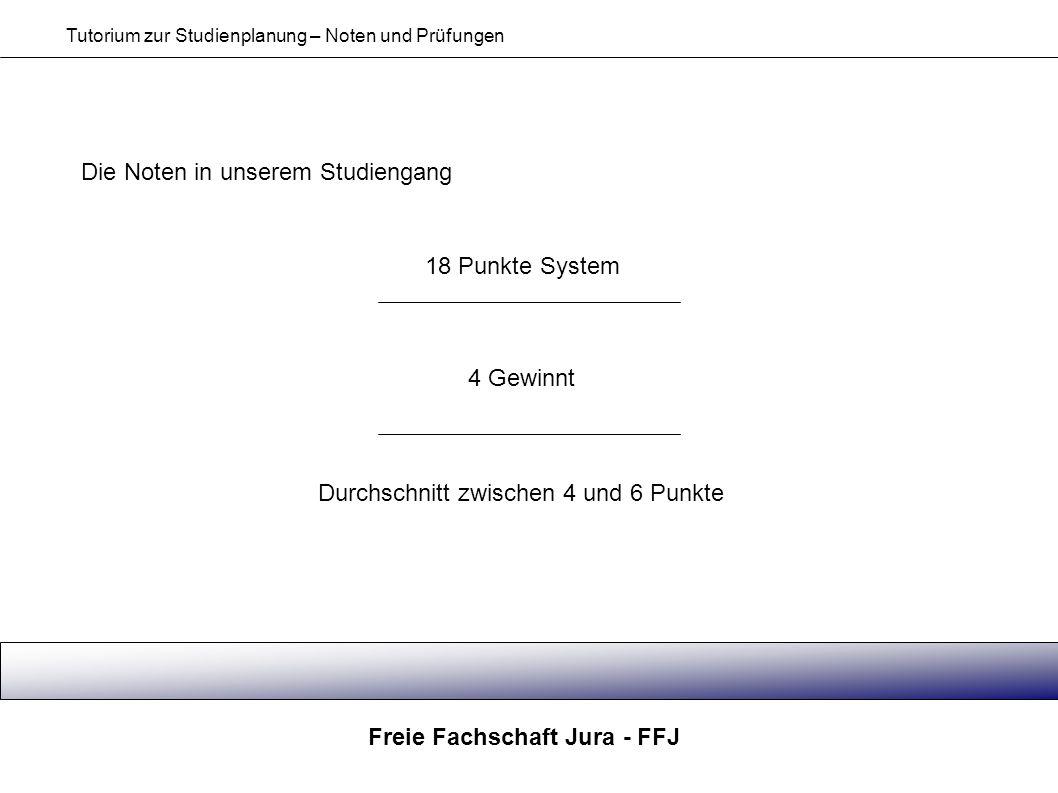 Freie Fachschaft Jura - FFJ Tutorium zur Studienplanung – Noten und Prüfungen Die Noten in unserem Studiengang 18 Punkte System 4 Gewinnt Durchschnitt