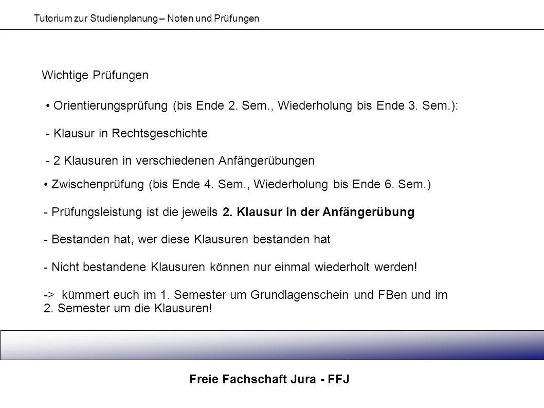 Freie Fachschaft Jura - FFJ Tutorium zur Studienplanung – Noten und Prüfungen Wichtige Prüfungen Zwischenprüfung (bis Ende 4. Sem., Wiederholung bis E