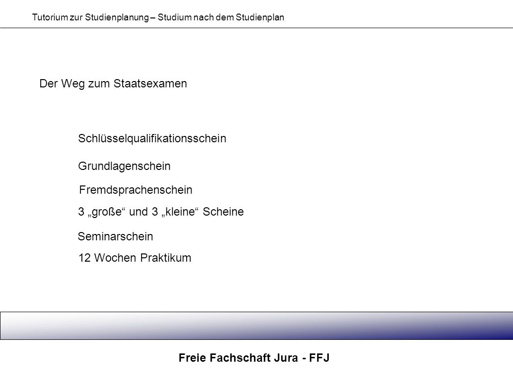 Freie Fachschaft Jura - FFJ Tutorium zur Studienplanung – Studium nach dem Studienplan Der Weg zum Staatsexamen Schlüsselqualifikationsschein Grundlag