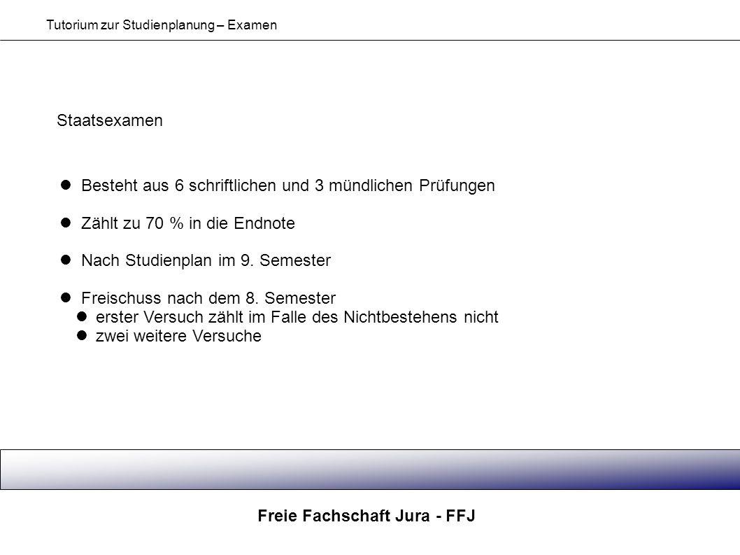 Freie Fachschaft Jura - FFJ Tutorium zur Studienplanung – Examen Staatsexamen Besteht aus 6 schriftlichen und 3 mündlichen Prüfungen Zählt zu 70 % in
