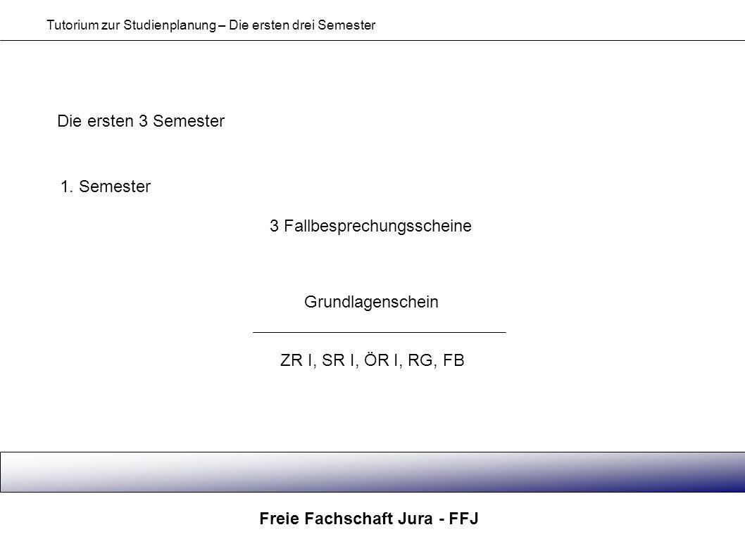 Freie Fachschaft Jura - FFJ Tutorium zur Studienplanung – Die ersten drei Semester Die ersten 3 Semester 1. Semester 3 Fallbesprechungsscheine Grundla