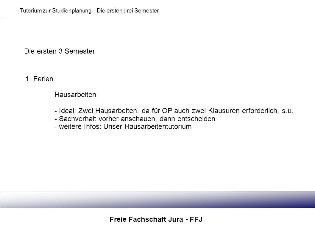 Freie Fachschaft Jura - FFJ Tutorium zur Studienplanung – Die ersten drei Semester Die ersten 3 Semester 1. Ferien Hausarbeiten - Ideal: Zwei Hausarbe