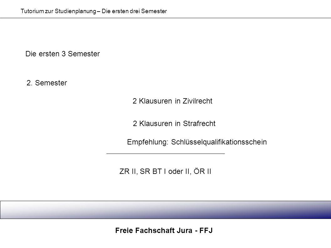 Freie Fachschaft Jura - FFJ Tutorium zur Studienplanung – Die ersten drei Semester Die ersten 3 Semester 2. Semester 2 Klausuren in Zivilrecht 2 Klaus