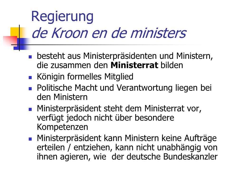 Regierung de Kroon en de ministers besteht aus Ministerpräsidenten und Ministern, die zusammen den Ministerrat bilden Königin formelles Mitglied Polit