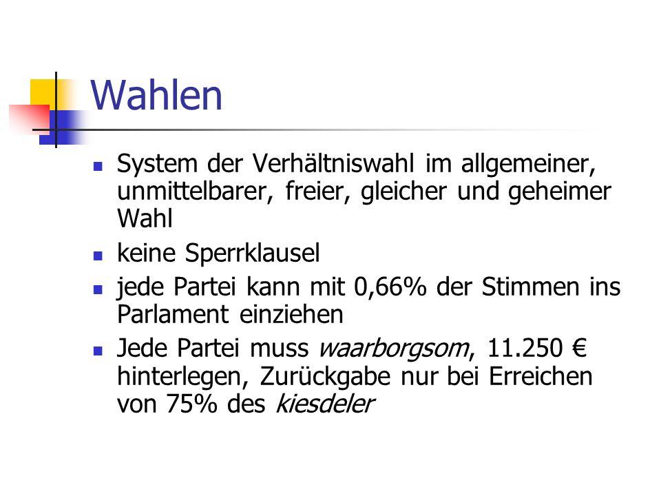 Wahlen System der Verhältniswahl im allgemeiner, unmittelbarer, freier, gleicher und geheimer Wahl keine Sperrklausel jede Partei kann mit 0,66% der S