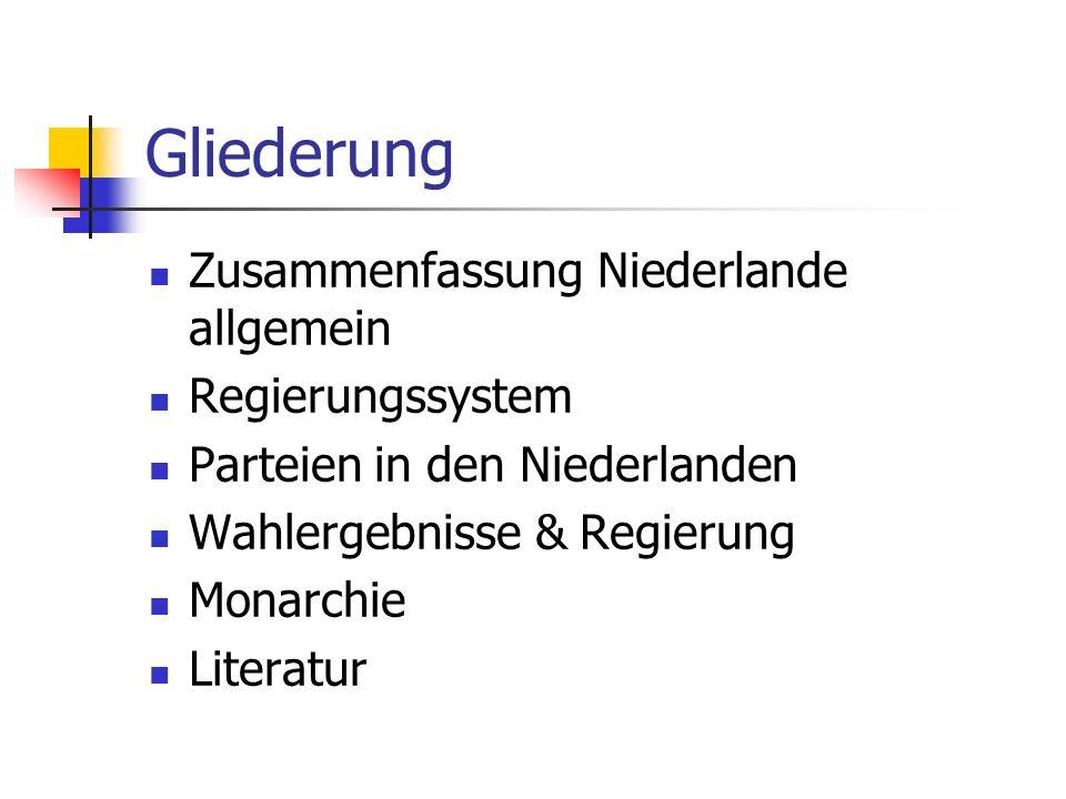 Gliederung Zusammenfassung Niederlande allgemein Regierungssystem Parteien in den Niederlanden Wahlergebnisse & Regierung Monarchie Literatur
