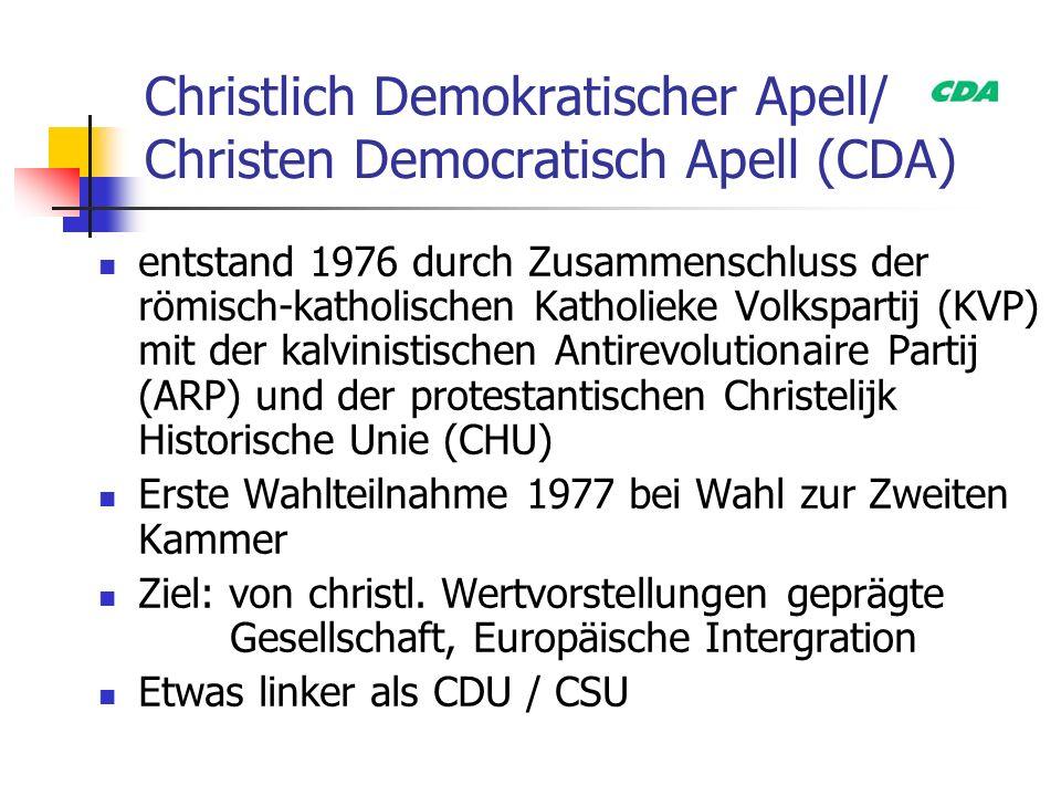 Christlich Demokratischer Apell/ Christen Democratisch Apell (CDA) entstand 1976 durch Zusammenschluss der römisch-katholischen Katholieke Volkspartij