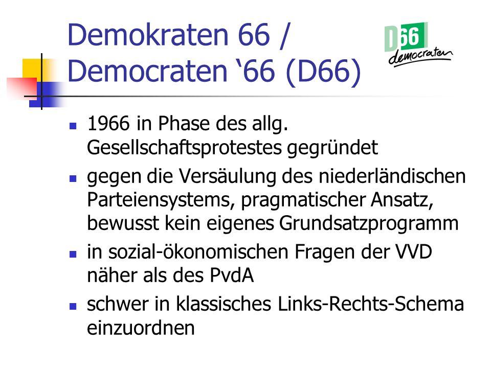 Demokraten 66 / Democraten 66 (D66) 1966 in Phase des allg. Gesellschaftsprotestes gegründet gegen die Versäulung des niederländischen Parteiensystems