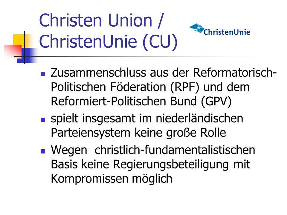 Christen Union / ChristenUnie (CU) Zusammenschluss aus der Reformatorisch- Politischen Föderation (RPF) und dem Reformiert-Politischen Bund (GPV) spie