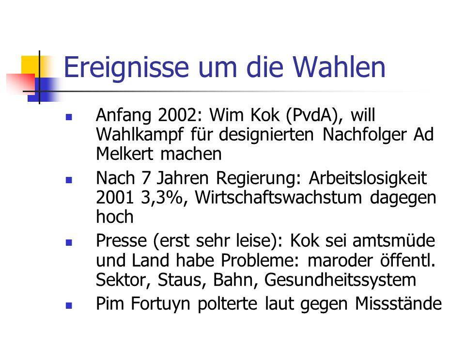 Ereignisse um die Wahlen Anfang 2002: Wim Kok (PvdA), will Wahlkampf für designierten Nachfolger Ad Melkert machen Nach 7 Jahren Regierung: Arbeitslos