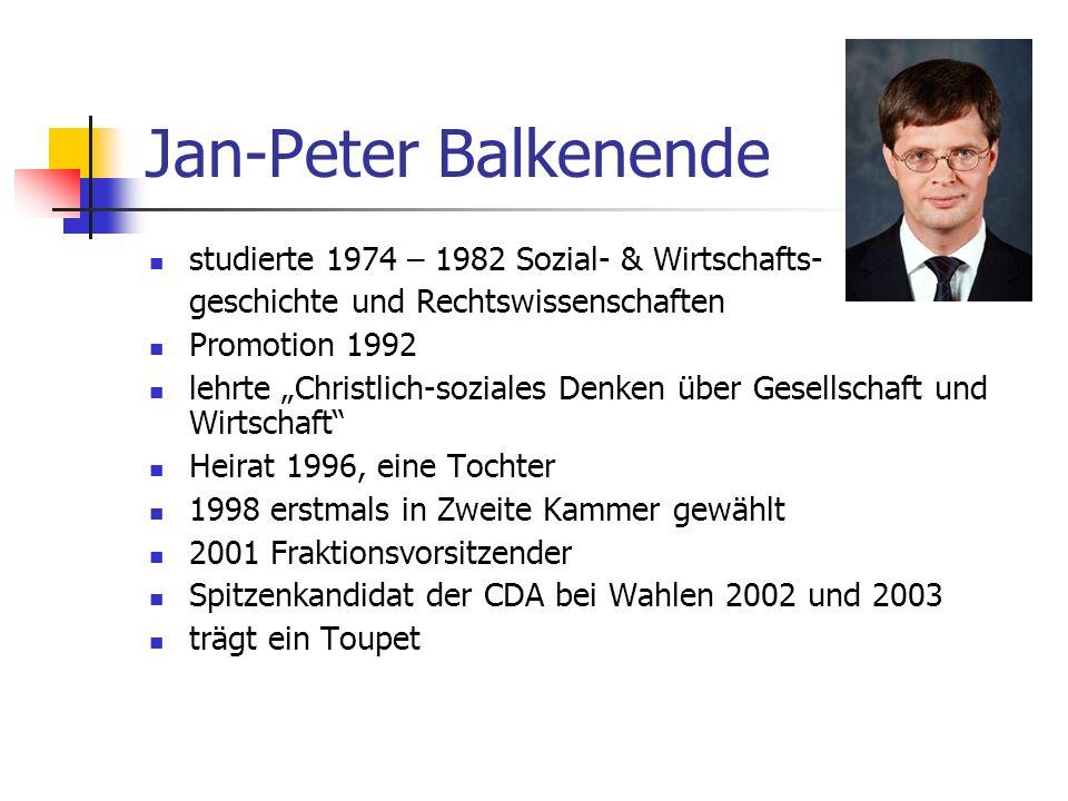 Jan-Peter Balkenende studierte 1974 – 1982 Sozial- & Wirtschafts- geschichte und Rechtswissenschaften Promotion 1992 lehrte Christlich-soziales Denken