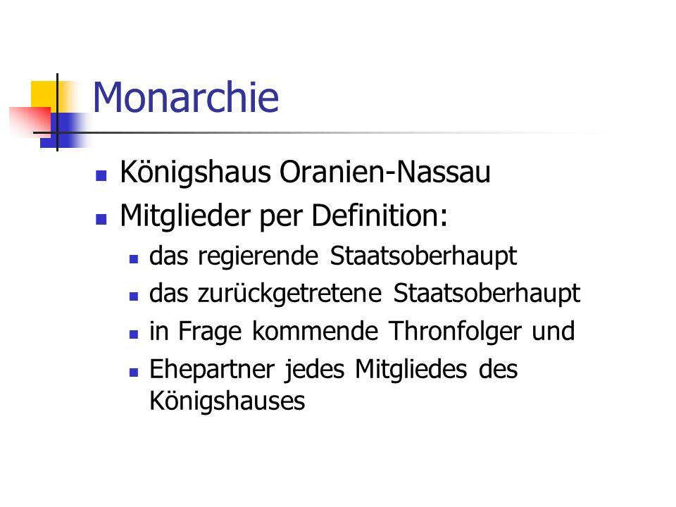 Monarchie Königshaus Oranien-Nassau Mitglieder per Definition: das regierende Staatsoberhaupt das zurückgetretene Staatsoberhaupt in Frage kommende Th