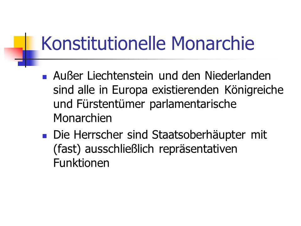 Konstitutionelle Monarchie Außer Liechtenstein und den Niederlanden sind alle in Europa existierenden Königreiche und Fürstentümer parlamentarische Mo
