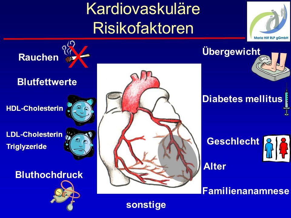 Kardiovaskuläre Risikofaktoren Rauchen Blutfettwerte HDL-Cholesterin Geschlecht Familienanamnese LDL-Cholesterin Triglyzeride sonstige Bluthochdruck Diabetes mellitus Übergewicht Alter