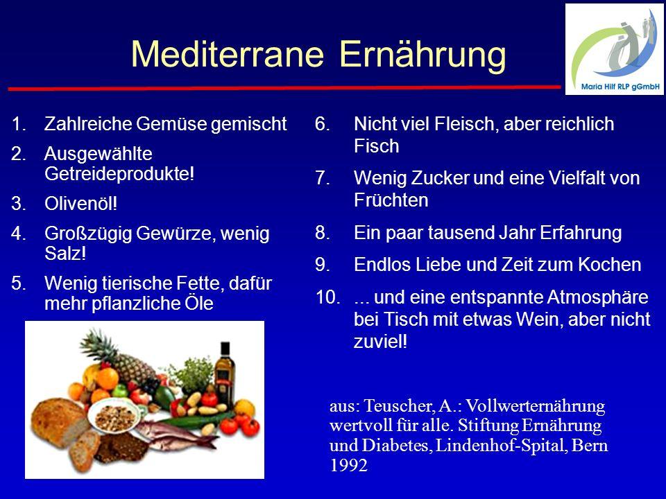 Mediterrane Ernährung 1.Zahlreiche Gemüse gemischt 2.Ausgewählte Getreideprodukte.