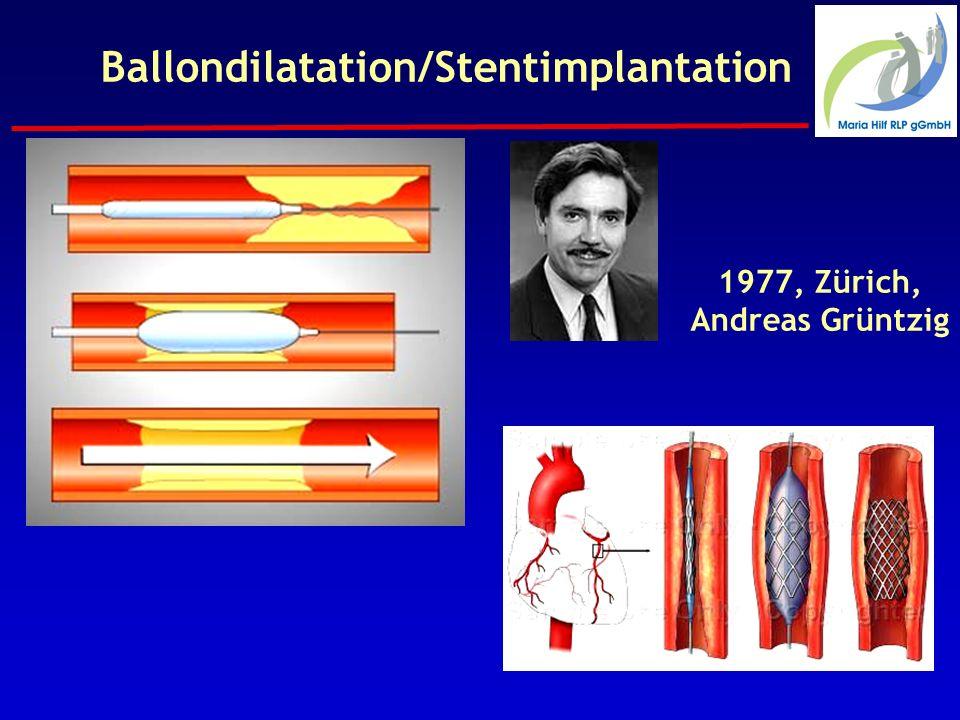 Ballondilatation/Stentimplantation 1977, Zürich, Andreas Grüntzig