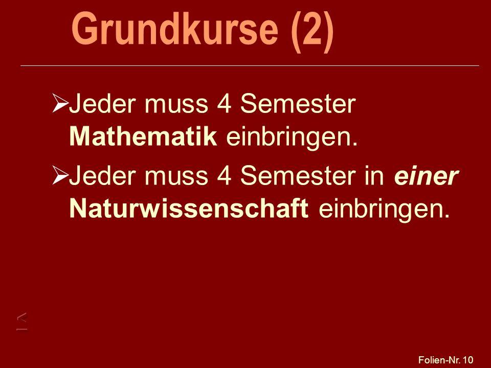 Folien-Nr. 10 Grundkurse (2) Jeder muss 4 Semester Mathematik einbringen. Jeder muss 4 Semester in einer Naturwissenschaft einbringen.