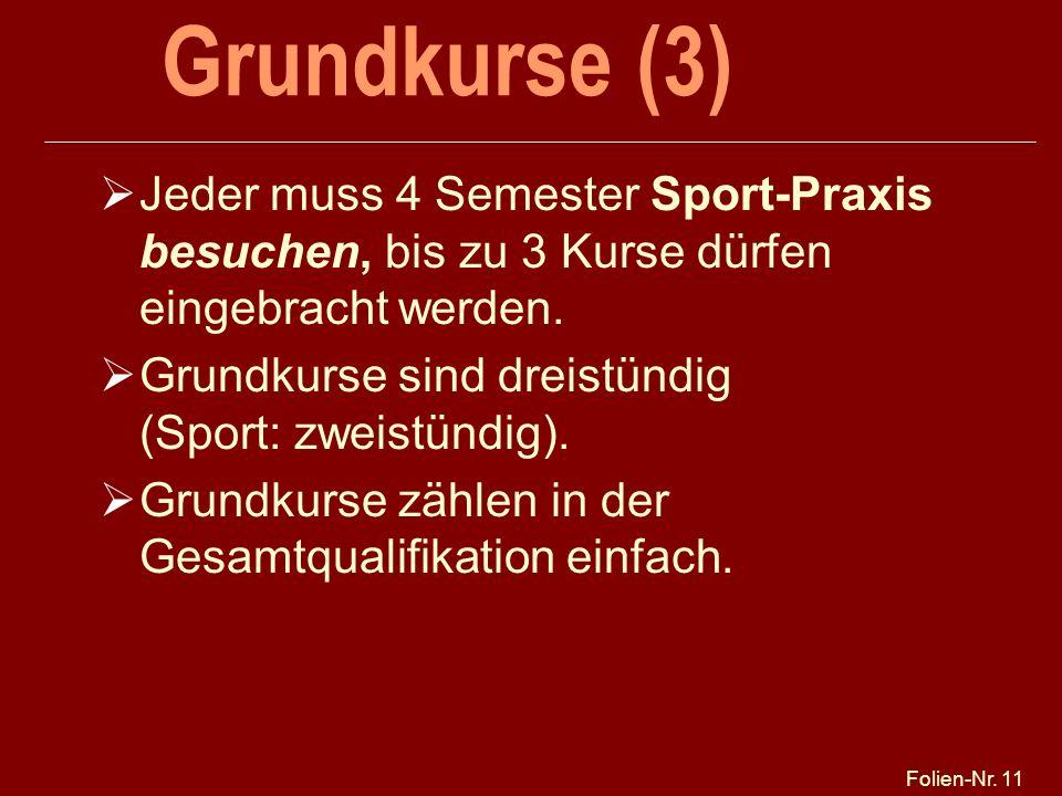 Folien-Nr. 11 Grundkurse (3) Jeder muss 4 Semester Sport-Praxis besuchen, bis zu 3 Kurse dürfen eingebracht werden. Grundkurse sind dreistündig (Sport