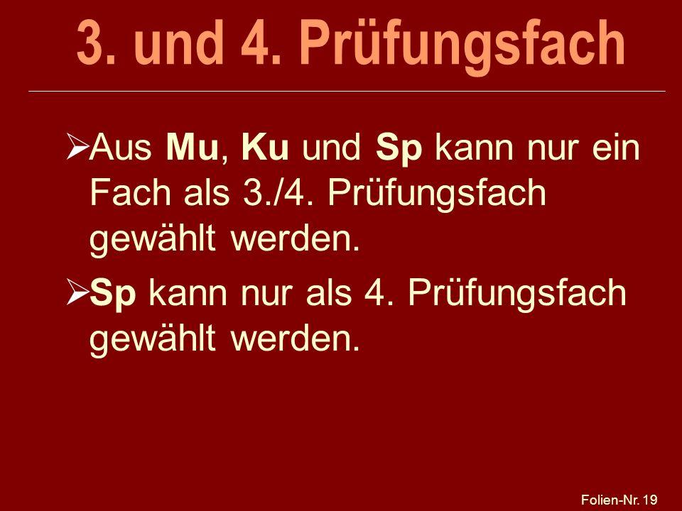Folien-Nr. 19 3. und 4. Prüfungsfach Aus Mu, Ku und Sp kann nur ein Fach als 3./4. Prüfungsfach gewählt werden. Sp kann nur als 4. Prüfungsfach gewähl