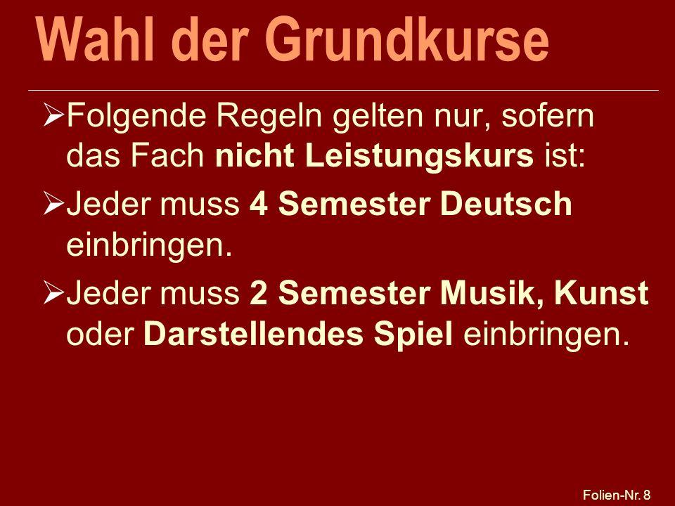 Folien-Nr. 8 Wahl der Grundkurse Folgende Regeln gelten nur, sofern das Fach nicht Leistungskurs ist: Jeder muss 4 Semester Deutsch einbringen. Jeder