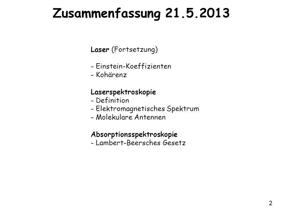 2 Zusammenfassung 21.5.2013 Laser (Fortsetzung) - Einstein-Koeffizienten - Kohärenz Laserspektroskopie - Definition - Elektromagnetisches Spektrum - M