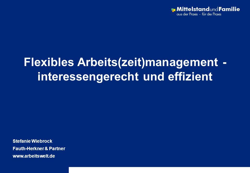 © Fauth-Herkner & Partner Seite 2 Fauth-Herkner & PartnerLeistungsfelder www.Arbeitswelt.de & www.work-life.de & www.mittelstand-und-familie.de Innovative Modelle - Qualifizierte Teilzeit (BMFSFJ) Systematisches Beschäftigungsmanagement (Bertelsmann Stfg.) audit berufundfamilie ® (GHSt): Entwicklung und Auditierung EU-Netzwerk: Family & Work Kompetenzzentrum work-life balance (StMAS, vbw, VBM, ESF) Förderprojekt: Familienbewusste Arbeitswelt Informationsportal Mittelstand und Familie (Allianz für die Familie) Umsetzungsberatung: 20 Jahre Erfahrung Human-Resource-Management Arbeits(zeit)management, Organisation Arbeitsrecht, Entlohnung, EDV Kompetenzentwicklung von Führungskräften Information und Kommunikation, Mitarbeiterbefragung mobilZeit Projekte: