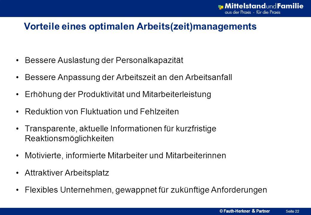 © Fauth-Herkner & Partner Seite 22 Vorteile eines optimalen Arbeits(zeit)managements Bessere Auslastung der Personalkapazität Bessere Anpassung der Ar