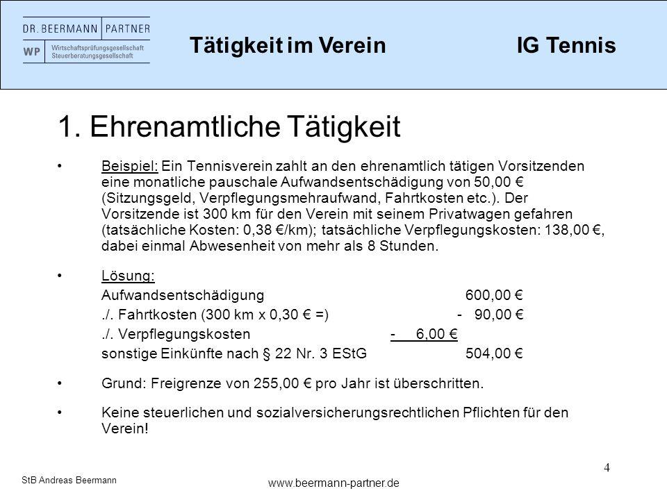 5 1.Ehrenamtliche Tätigkeit Vereinsrechtliche Besonderheit: § 55 Abs.