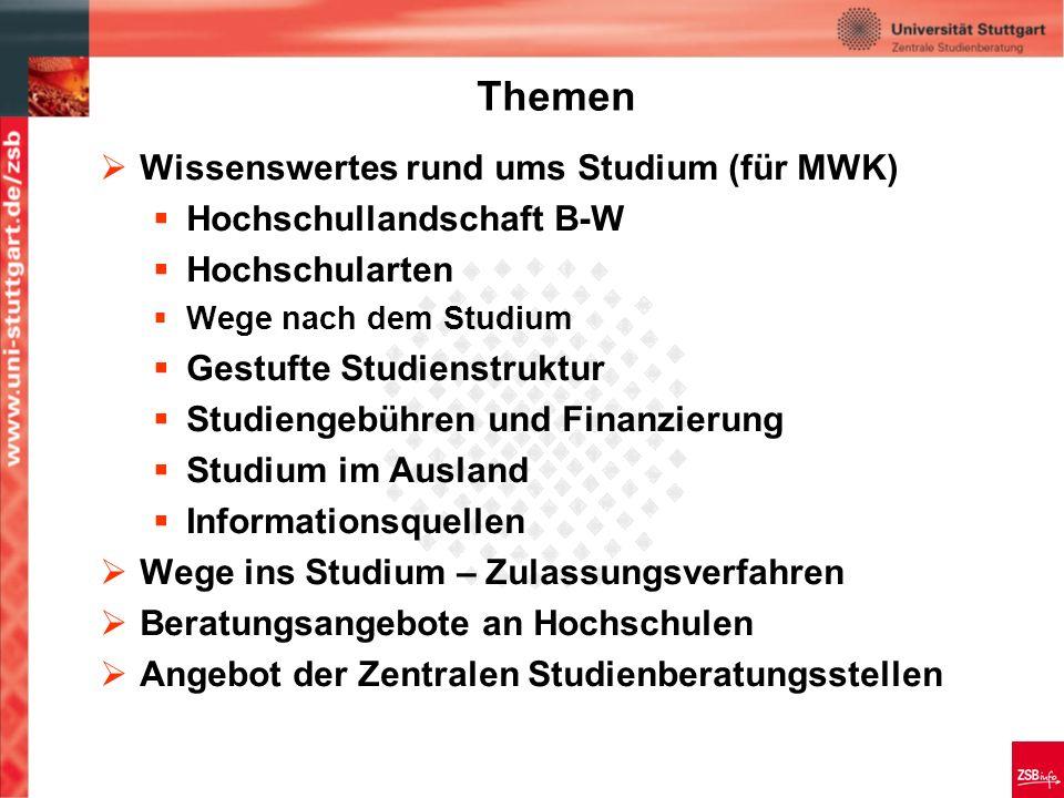 3 Wissenswertes rund ums Studium in Baden-Württemberg Ministerium für Wissenschaft, Forschung und Kunst Stand: September 2008