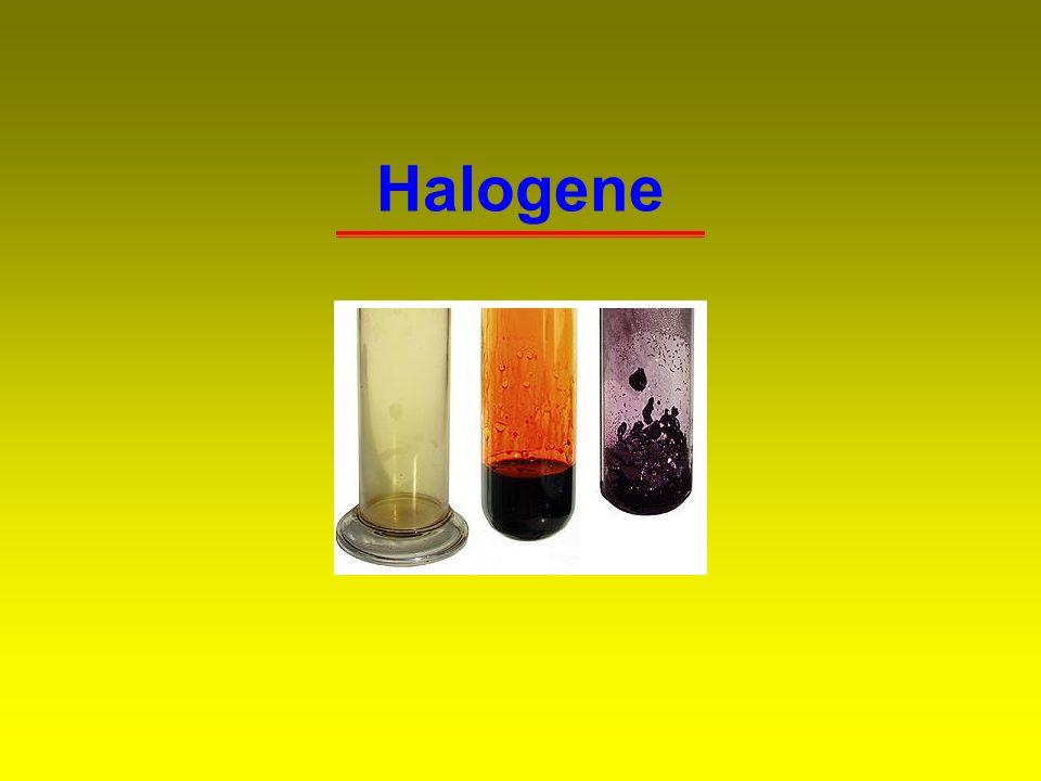 12 3.4 Iod Labor:Oxidation von KI mit Na 2 Cr 2 O 7 und H 2 SO 4 (cc) Cr 2 O 7 2- (aq) + 6 I - (aq) + 14 H + (aq) 2 Cr 3+ (aq) + 3 I 2 (s) + 7 H 2 O (l) Technik:(I) Oxidation von Iodid-haltigen Sohlen mit Chlor 2 Br - (aq) + Cl 2 (g) Br 2 (aq) + 2 Cl - (aq) (II) Aufarbeitung von Iodat-haltigem Chilesalpeter HIO 3 + 3 SO 2 + 3 H 2 O HI + 3 H 2 SO 4 HIO 3 + 5 HI 3 I 2 + 3 H 2 O