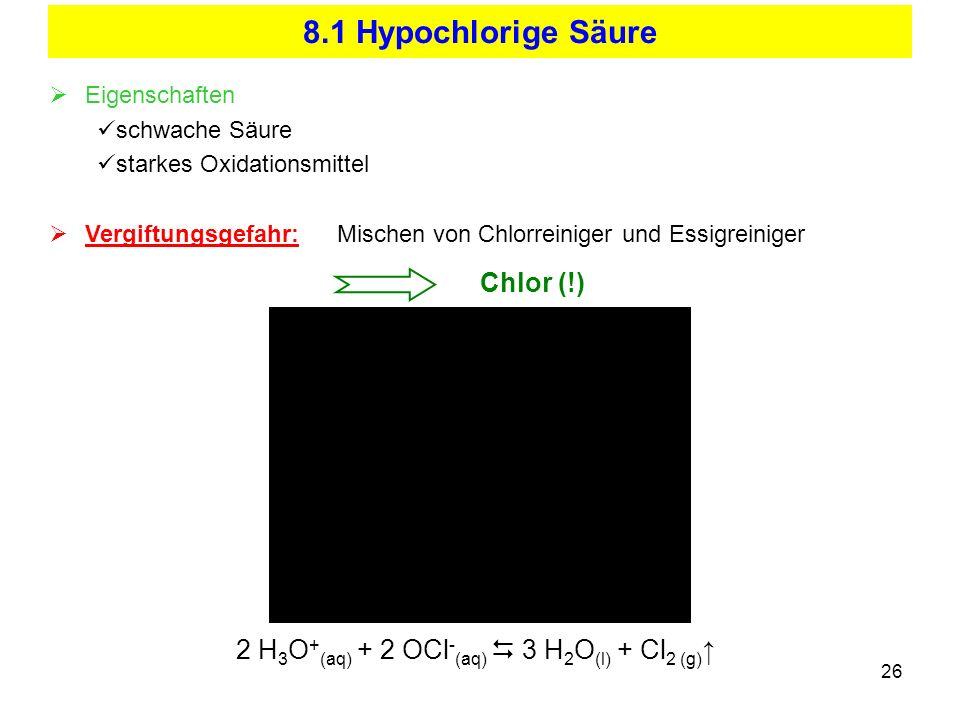 26 8.1 Hypochlorige Säure 2 H 3 O + (aq) + 2 OCl - (aq) 3 H 2 O (l) + Cl 2 (g) Eigenschaften schwache Säure starkes Oxidationsmittel Vergiftungsgefahr