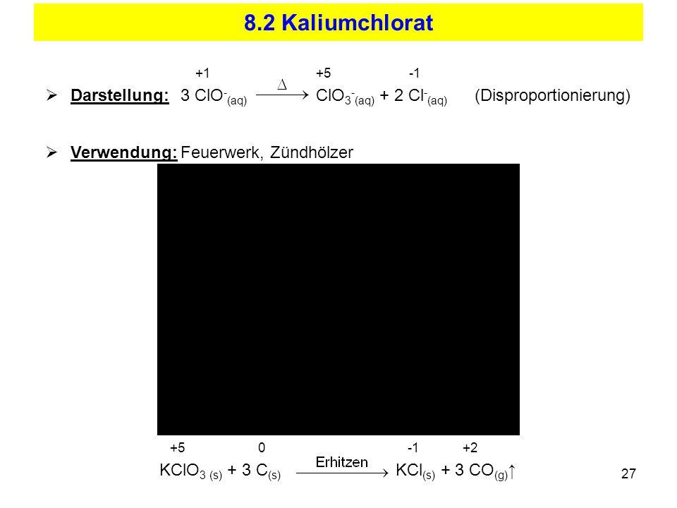 27 8.2 Kaliumchlorat +1+5 -1 Darstellung:3 ClO - (aq) ClO 3 - (aq) + 2 Cl - (aq) (Disproportionierung) Verwendung:Feuerwerk, Zündhölzer +5 0 -1 +2 KCl