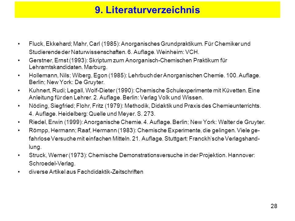 28 9. Literaturverzeichnis Fluck, Ekkehard; Mahr, Carl (1985): Anorganisches Grundpraktikum. Für Chemiker und Studierende der Naturwissenschaften. 6.