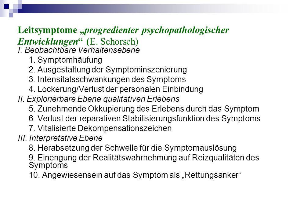 Leitsymptome progredienter psychopathologischer Entwicklungen (E.