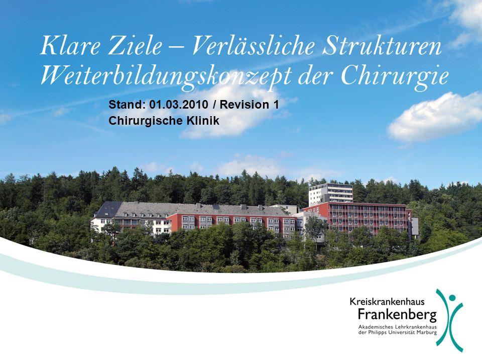 Klare Ziele – Verlässliche Strukturen Weiterbildungskonzept der Chirurgie Stand: 01.03.2010 / Revision 1 Chirurgische Klinik