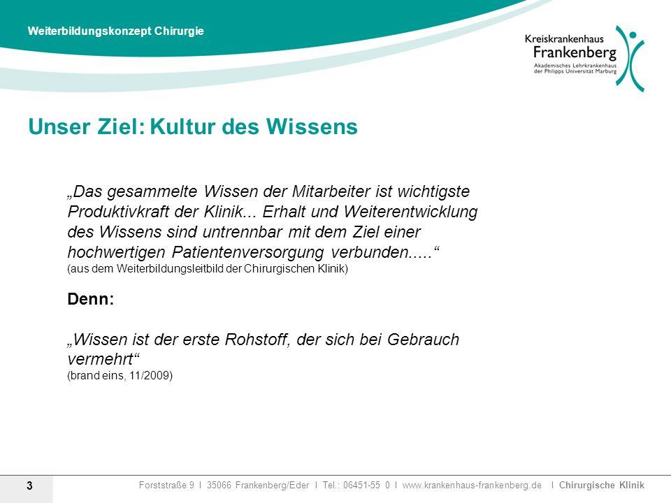 Forststraße 9 I 35066 Frankenberg/Eder I Tel.: 06451-55 0 I www.krankenhaus-frankenberg.de I Chirurgische Klinik Unser Ziel: Kultur des Wissens 3 Weit