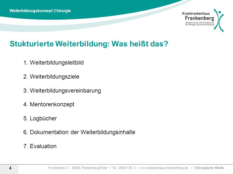 Forststraße 9 I 35066 Frankenberg/Eder I Tel.: 06451-55 0 I www.krankenhaus-frankenberg.de I Chirurgische Klinik Stukturierte Weiterbildung: Was heißt