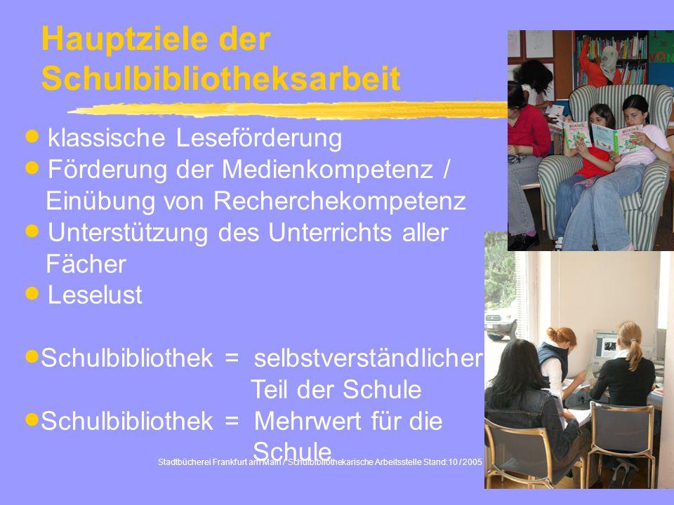 2 Hauptziele der Schulbibliotheksarbeit klassische Leseförderung Förderung der Medienkompetenz / Einübung von Recherchekompetenz Unterstützung des Unt