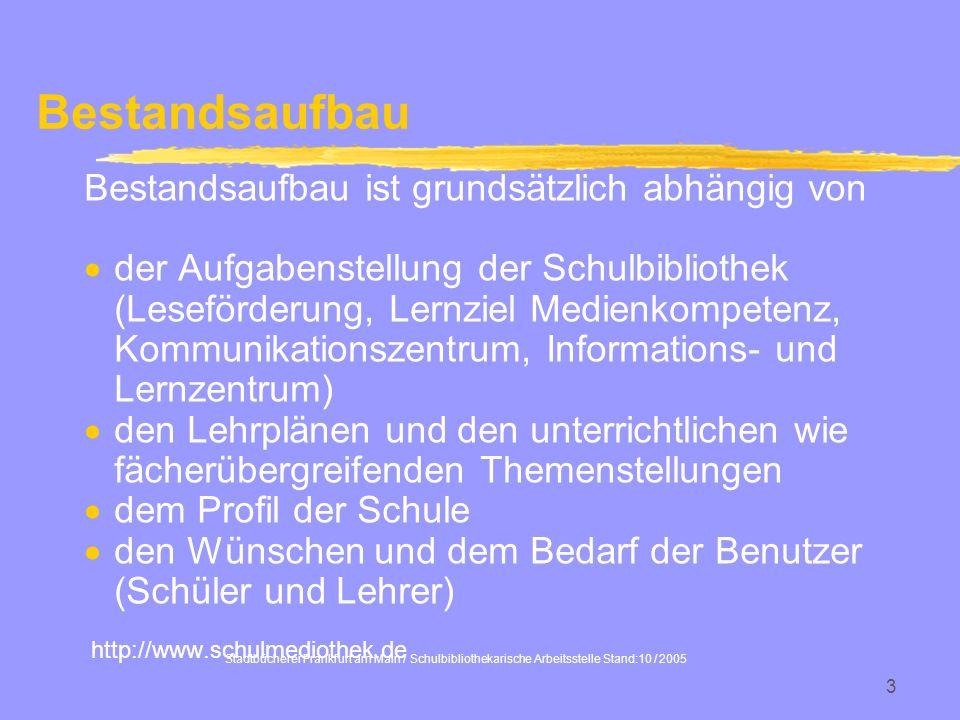 Stadtbücherei Frankfurt am Main / Schulbibliothekarische Arbeitsstelle Stand:10 / 2005 3 Bestandsaufbau ist grundsätzlich abhängig von der Aufgabenste