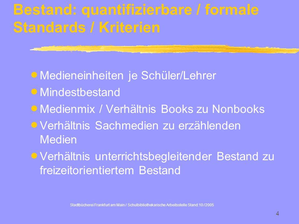 Stadtbücherei Frankfurt am Main / Schulbibliothekarische Arbeitsstelle Stand:10 / 2005 4 Bestand: quantifizierbare / formale Standards / Kriterien Med