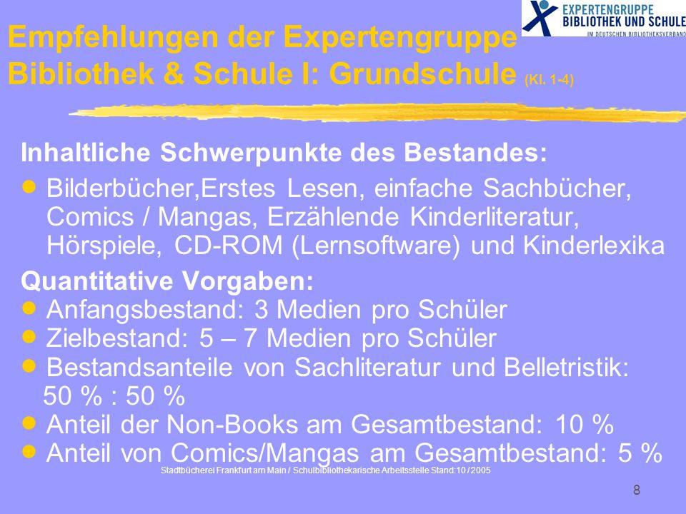 Stadtbücherei Frankfurt am Main / Schulbibliothekarische Arbeitsstelle Stand:10 / 2005 8 Empfehlungen der Expertengruppe Bibliothek & Schule I: Grunds